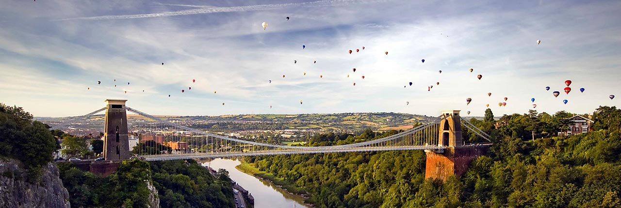 Hot Air Balloons over the Clifton Suspension Bridge in Bristol