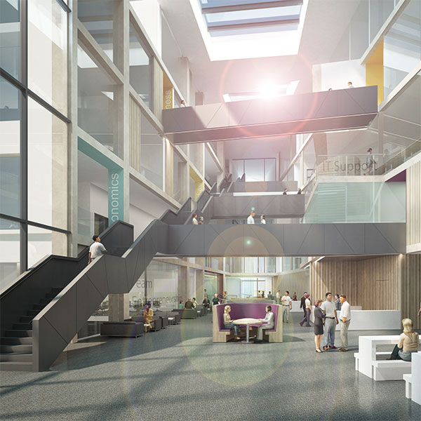 Visualisation of the interior of the new Bristol Business School building