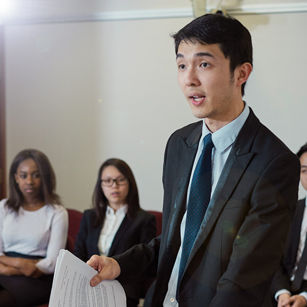 Bristol Law School students taking part in a courtroom simulation
