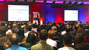 Large audience and presenter at a Bristol Business School event