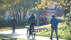 Students on pathway through Frenchay Campus