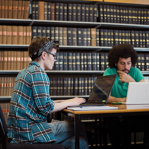 Students working in the Bristol Law School library