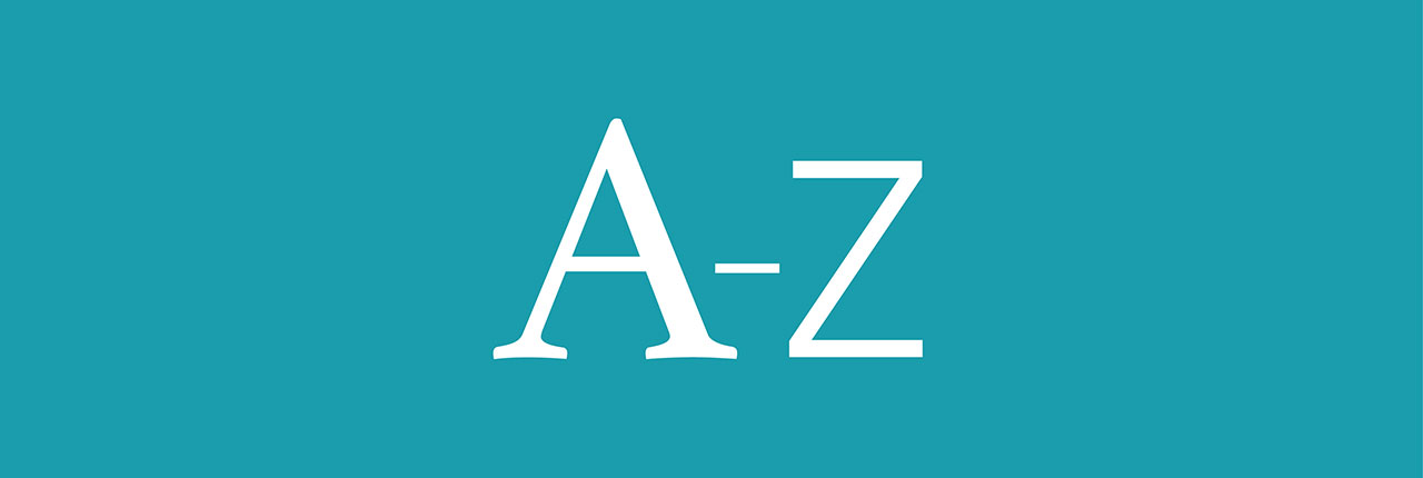 A to Z white letters on a sky blue background