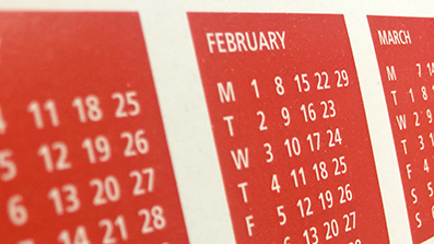 A photo of dates on a calendar