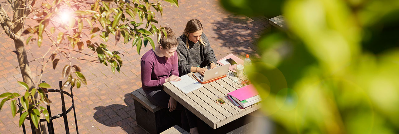 Students studying outside on Frenchay Campus