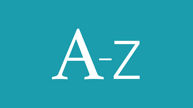 A-Z letters on a sky blue background