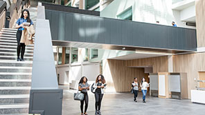 Students in the foyer of the Faculty of Business and Law building