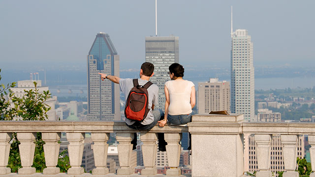 Students looking out over the Montreal skyline.