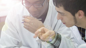 Two male science students working together in a science lab