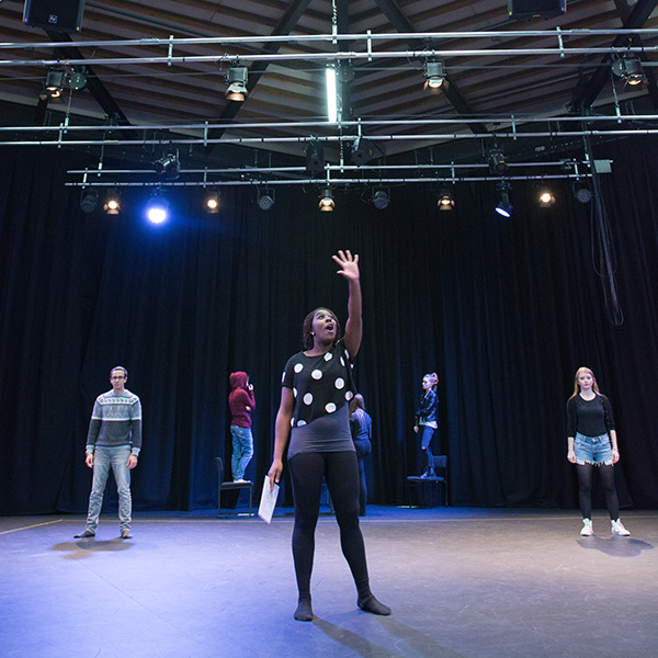 Drama degree students in a studio