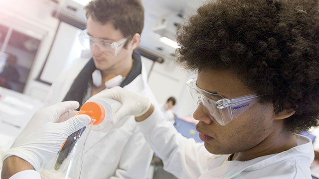 Science degree students working in a science laboratory