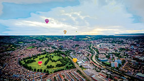 skyscape of balloons travelling over Bristol