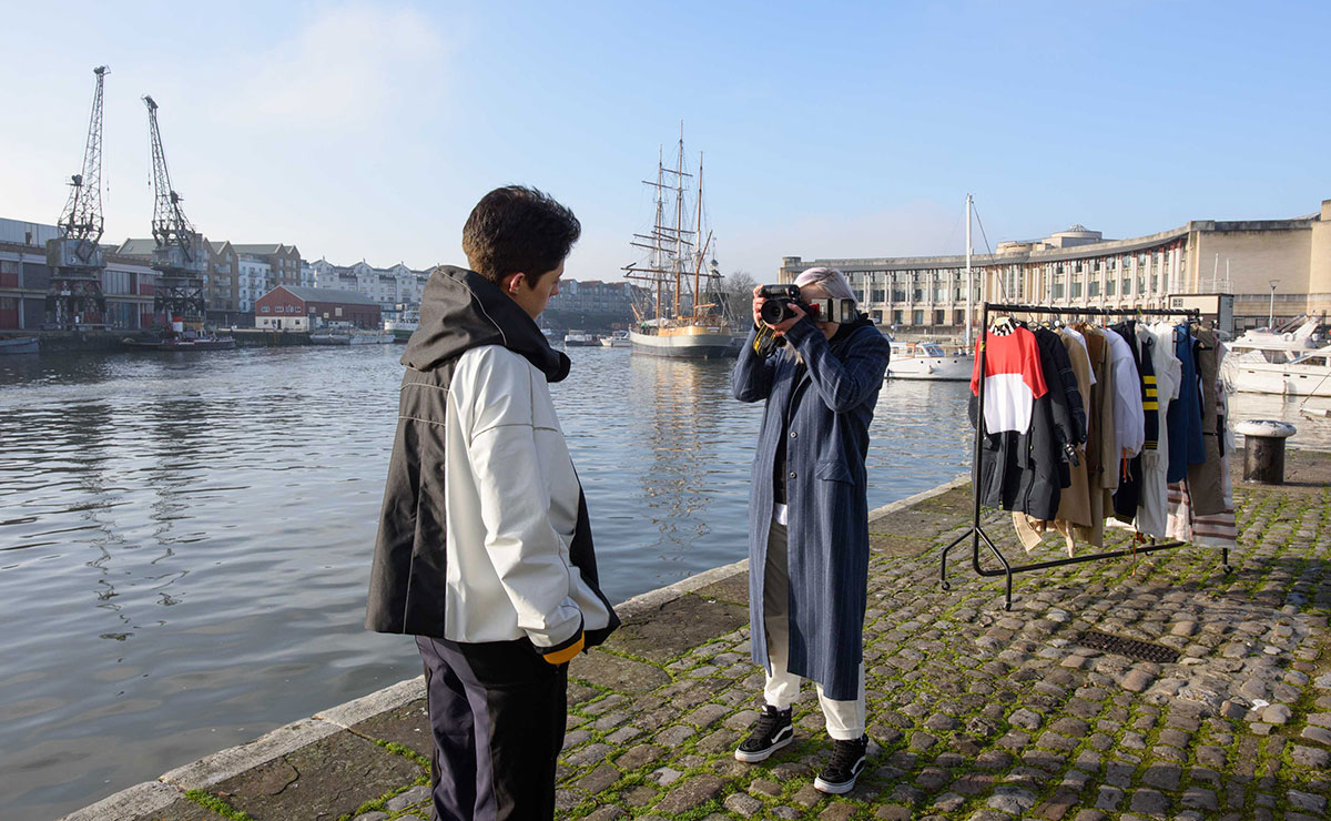 Photography students on Bristol waterfront