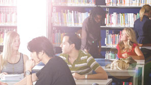Students working in a library