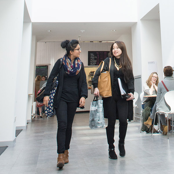 Students walking down a hallway on Bower Ashton Campus