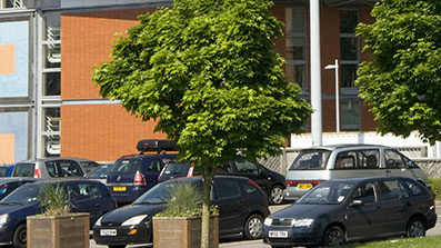 A car park on Frenchay Campus