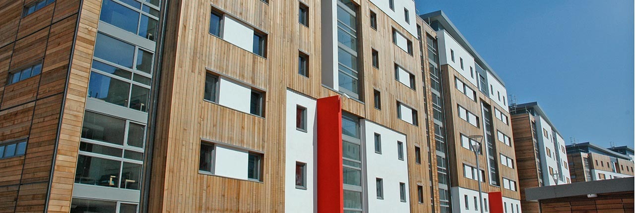 An exterior shot of student accommodation