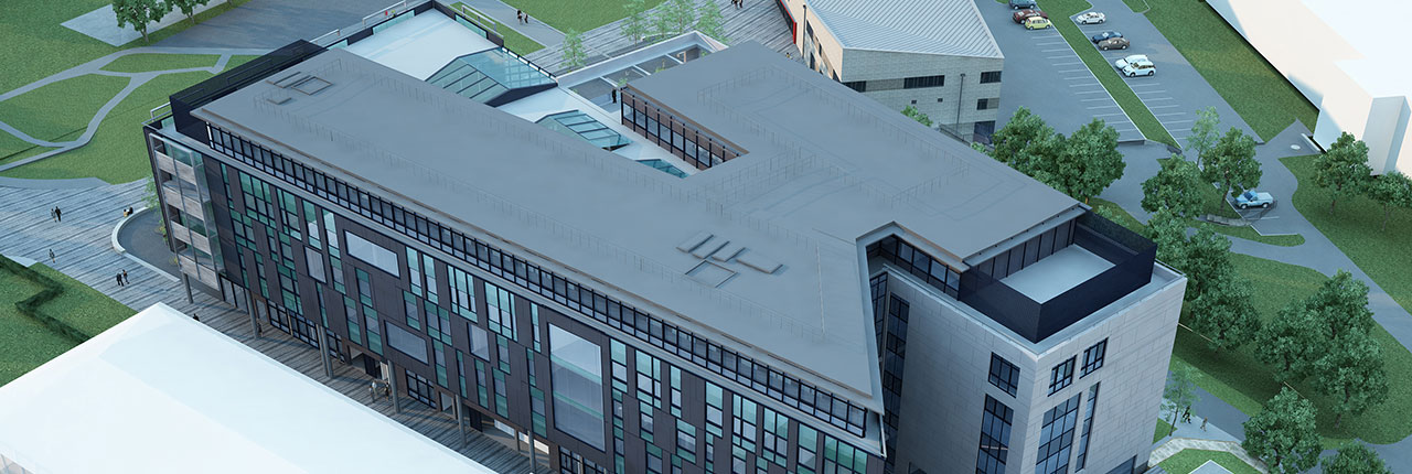 Aerial visualisation of new Business and Law building