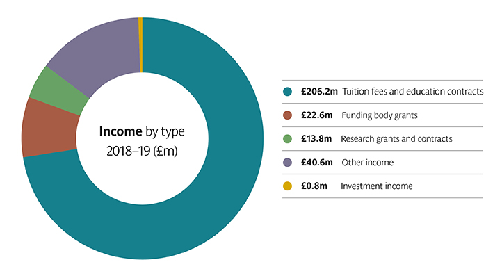 Pie chart showing income by type