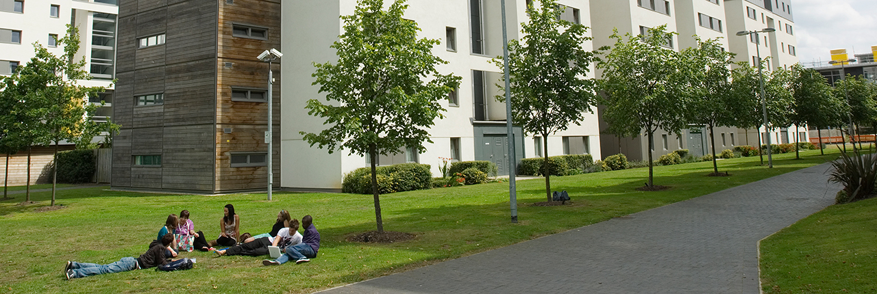A group of students sit on a lawn on Frenchay Campus