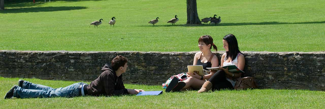 Students and geese at UWE Frenchay Campus