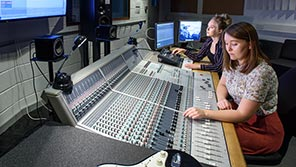Students at mixing desk