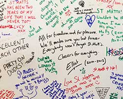Student farewells written on the walls of St Matthias