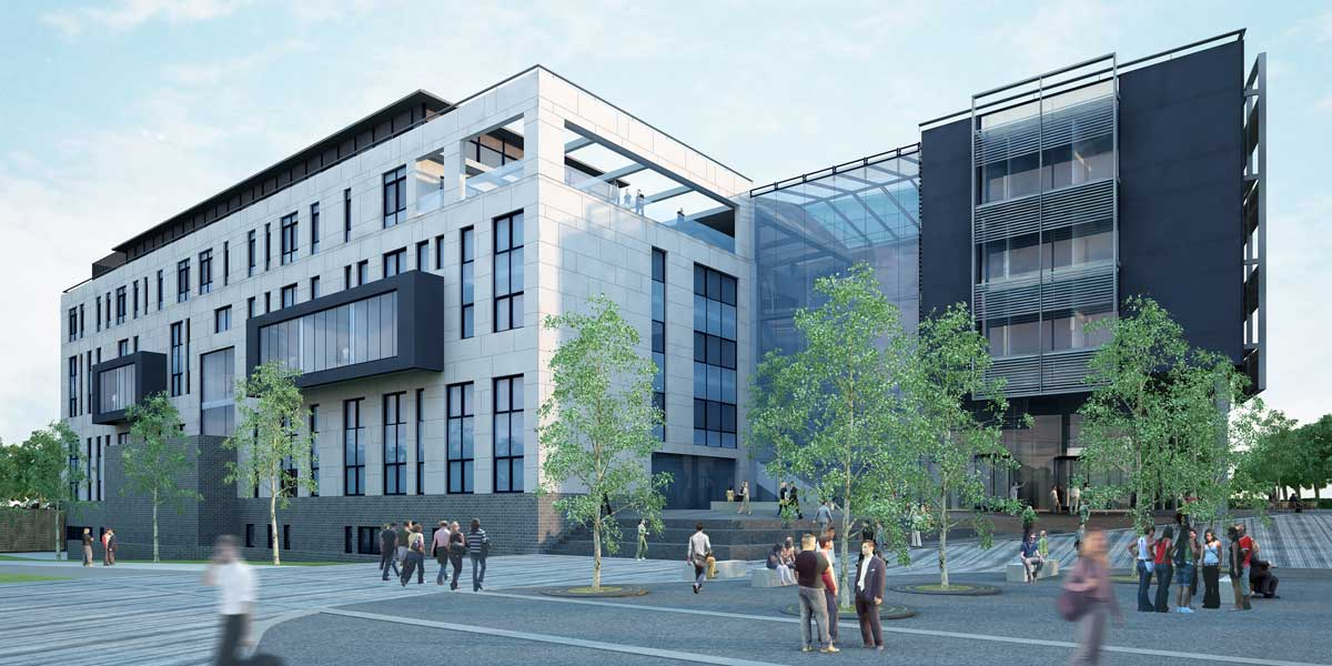 Early stage visualisation of the Bristol Business School building
