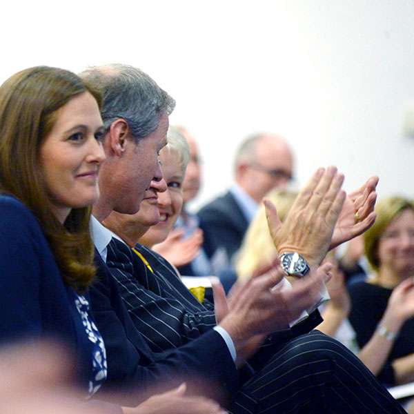 Audience applaud at Bristol Distinguished Address event