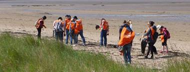 Student volunteers cleaning up a beach