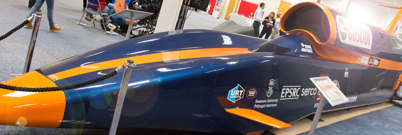 Bloodhound supercar on display in the ECC at UWE Bristol