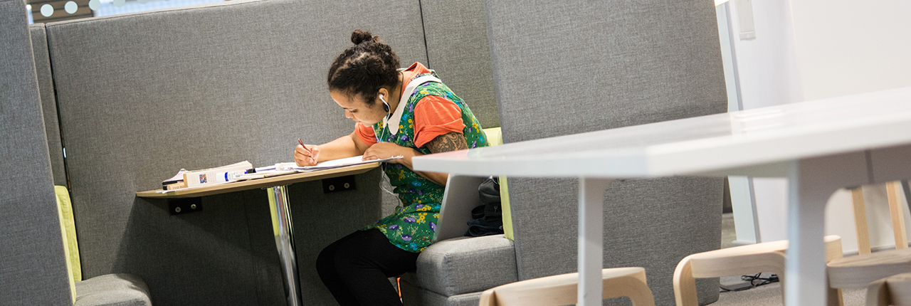 Student working in a booth, Bower Ashton Campus