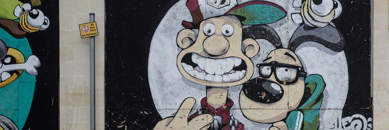 Street art of Wallace and Gromit by Cheo