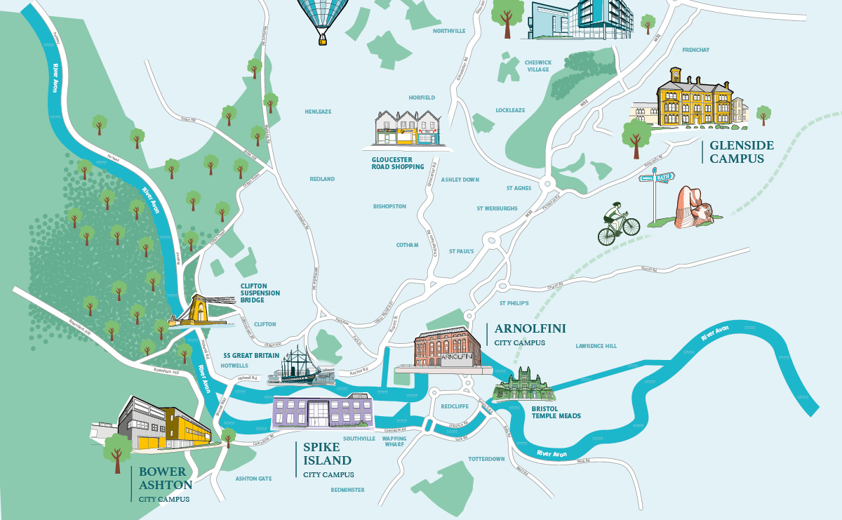 Illustrated map of Bristol and our campuses