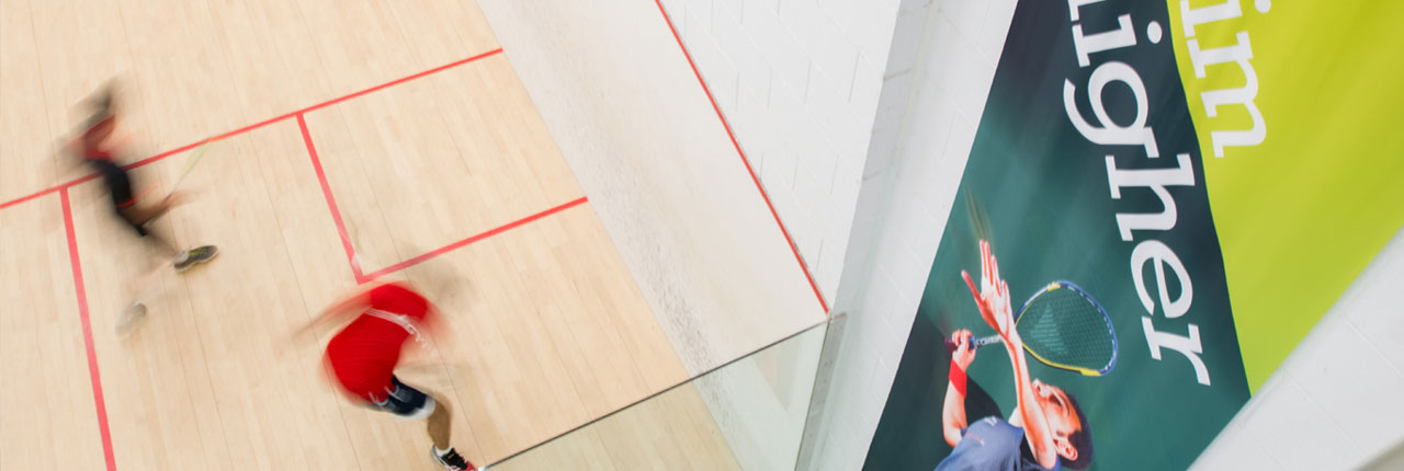 Squash players in action at the Centre for Sport