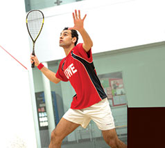 Student playing squash at the Centre for Sport