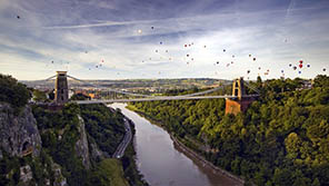 Balloons floating over Clifton Suspension Bridge