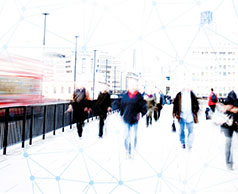 Motion blur picture of a London bus and commuters