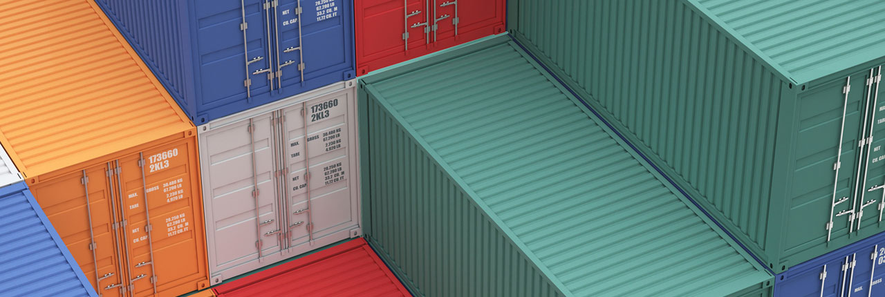 Coloured shipping containers
