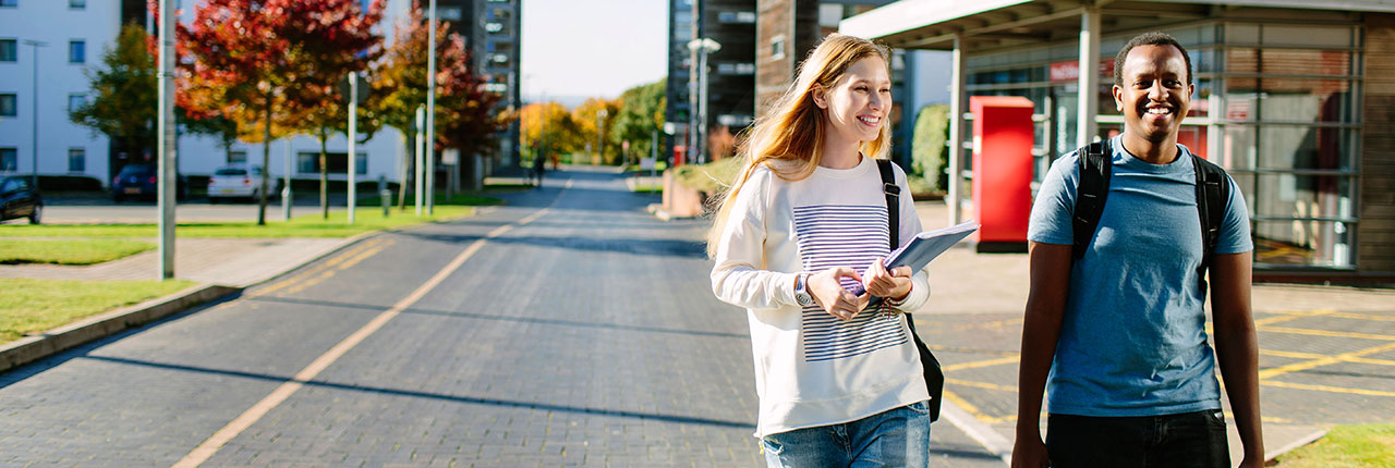 Students walking around Frenchay Campus