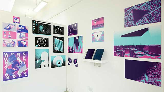 Art work displayed on the wall at the Creative Industries Degree Show