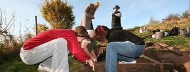 UWE student volunteers building steps