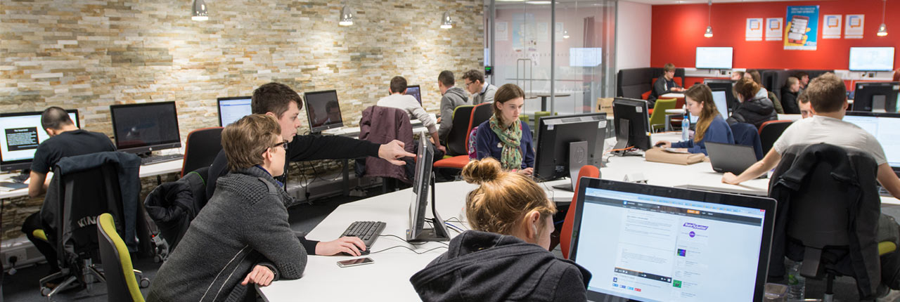 Students working in one of UWE Bristol social learning spaces