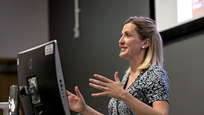 Donna Whitehead presenting at a UWE Bristol event