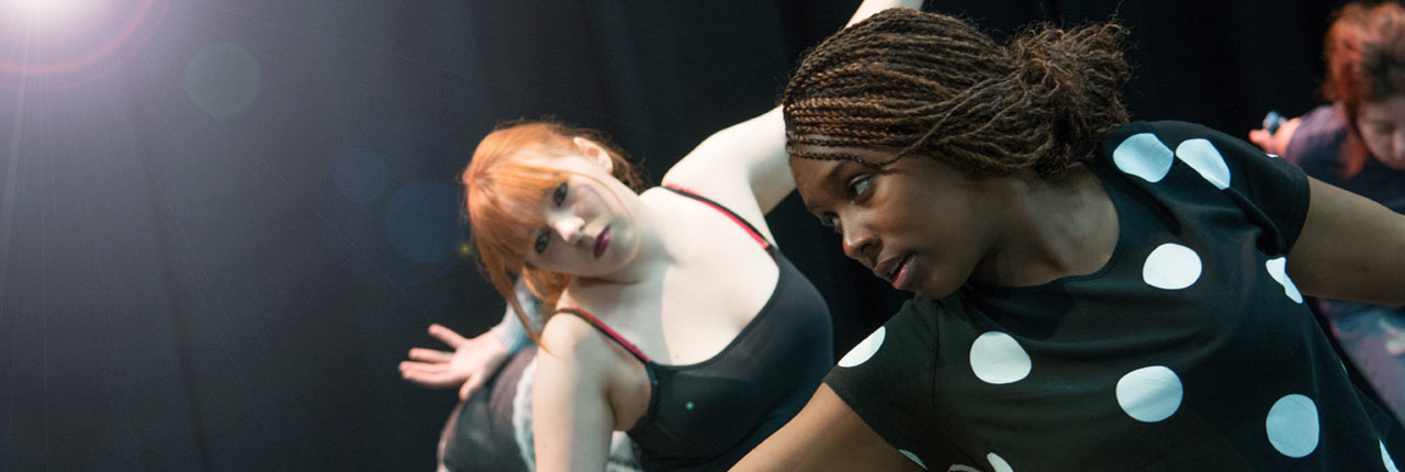 Female students in the drama studio