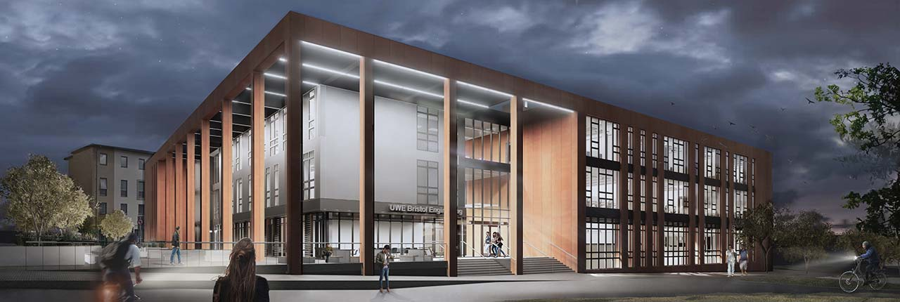 Engineering building at night - artists impression