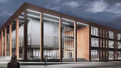 Engineering building at night - artist's impression