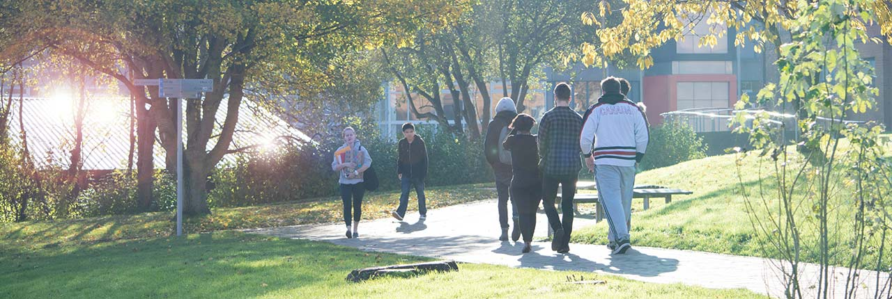 Students walking around Frenchay
