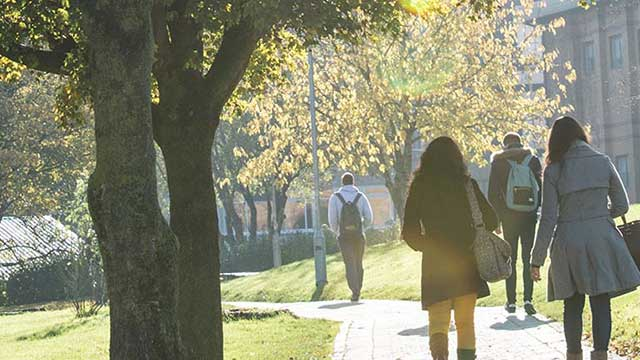 Students walking through Frenchay Campus in the sunshine
