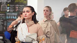 Models on catwalk in Fashion degree show